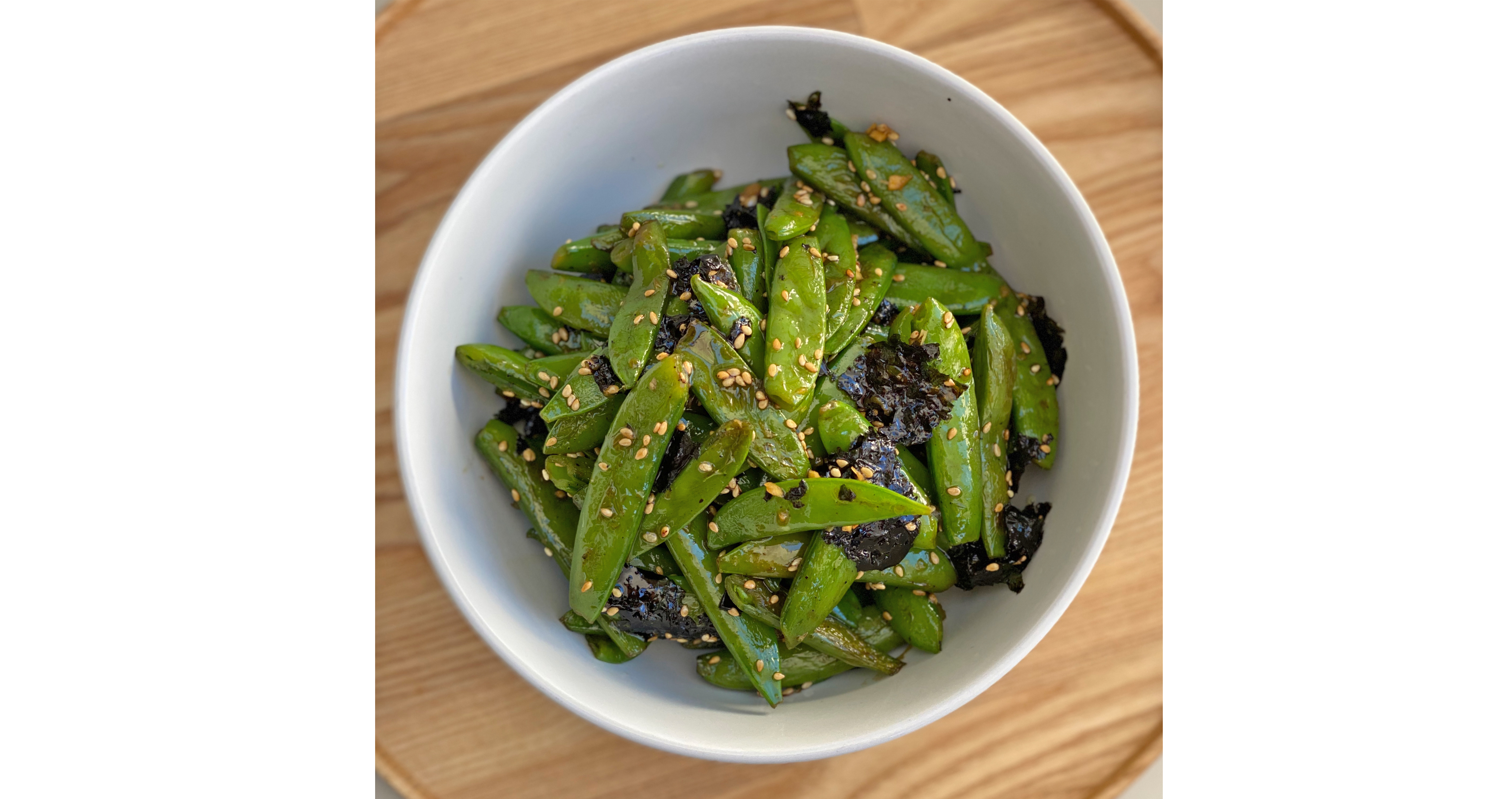 Blistered Snap Peas with Seaweed & Chili Flakes