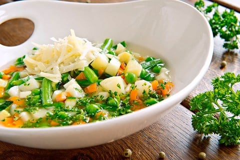 Spring Vegetable Soup with Pesto