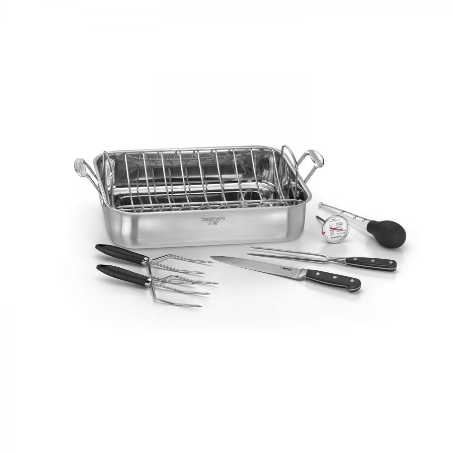 "Chef's Classic™ Stainless 16"""" Roaster Pan with Removable Rack Option 2"