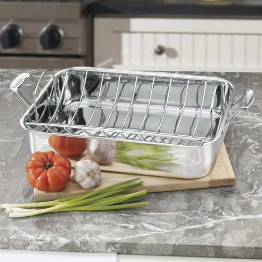 "Chef's Classic™ Stainless 16"""" Roasting Pan with Rack"