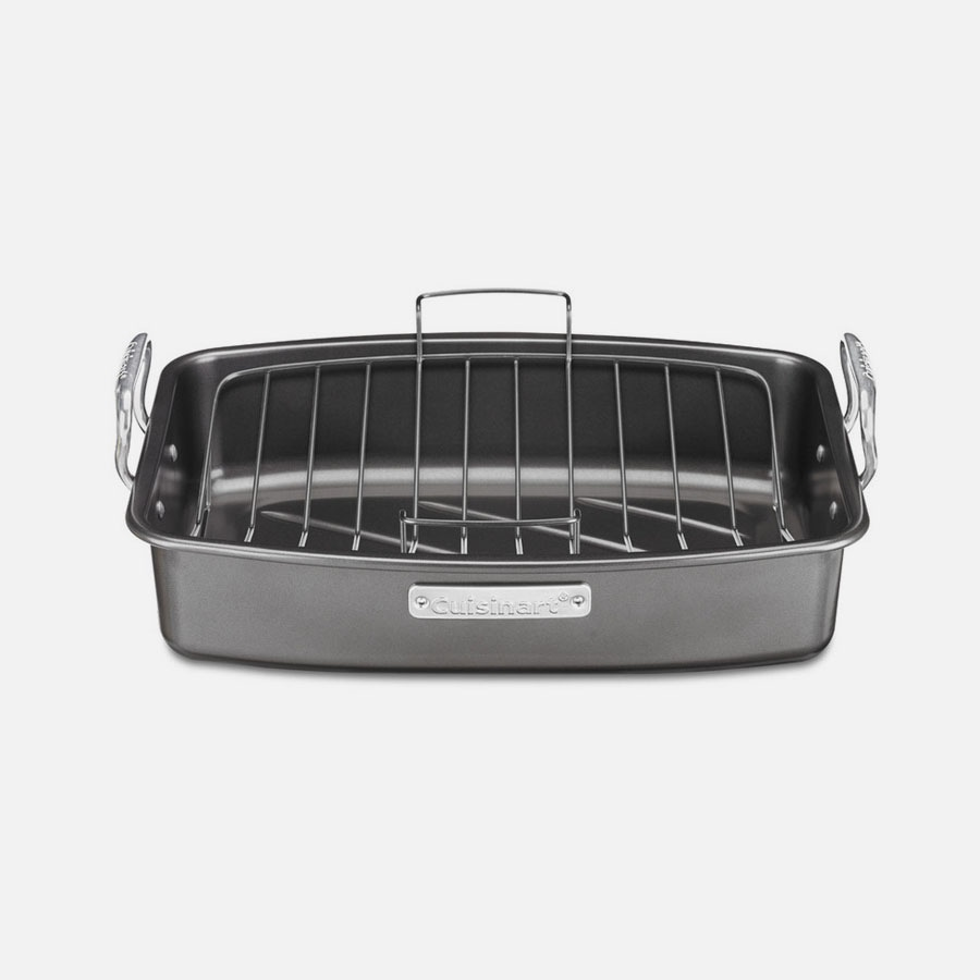 "Roasting And Lasagna Pans 17"" x 13"" Nonstick Roaster with V-Rack"