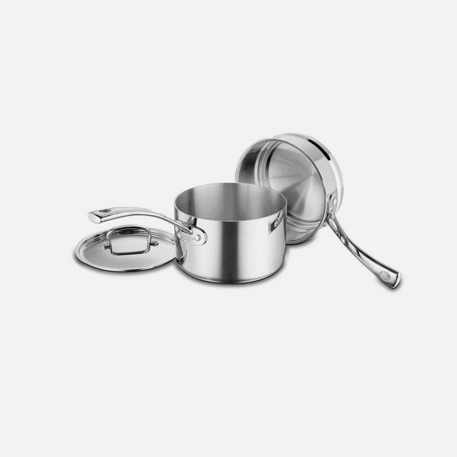 French Classic Tri-Ply Stainless Cookware 3 Piece Double Boiler Set