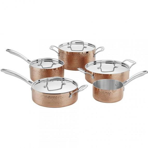 Hammered Collection Copper Tri-Ply Stainless 9 Piece Set
