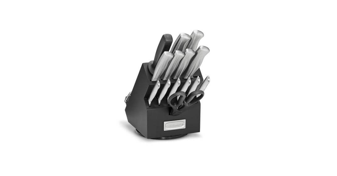 15 Piece Stainless Steel Rotating Cutlery Block Set - Black