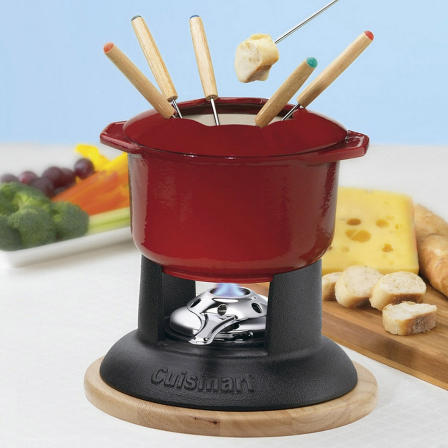 12 Piece Red Enamel Cast Iron Fondue Set