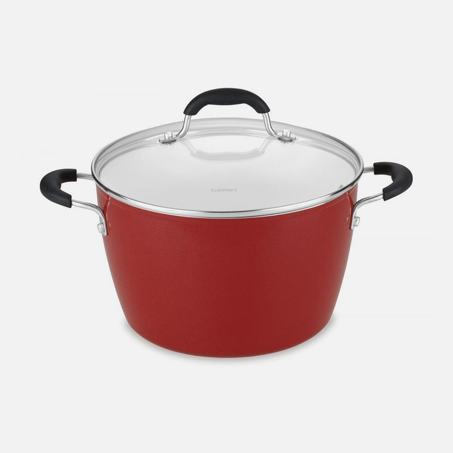 Red 6 Quart Stockpot with Cover