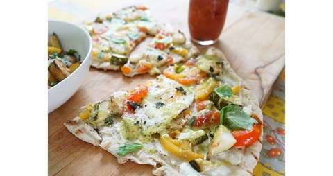 Brunch Pizza with Fried Egg, Smoke-Roasted Vegetables & Green Goddess Hollandaise