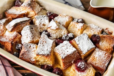 Chocolate Chip and Cherry Bread Pudding
