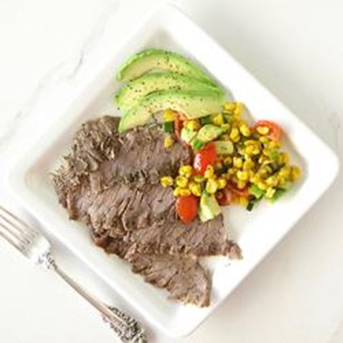 Grilled Flank Steak with Midwest Harvest Veggie Relish