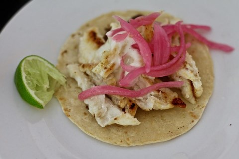 Fish Tacos with Quick Pickled Onions