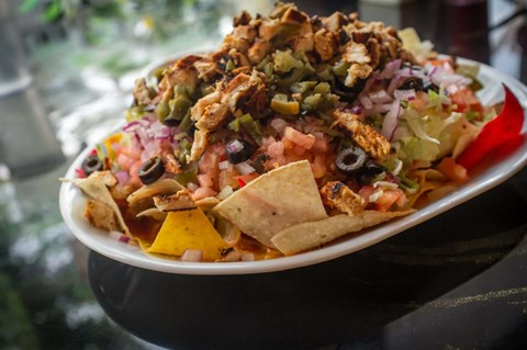 Nachos with Shredded Chicken and Homemade Tortilla Chips