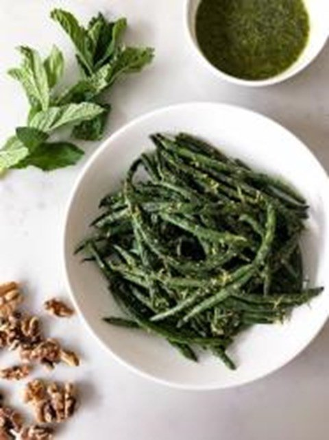 Grilled Green Beans with Walnut-Mint Pesto
