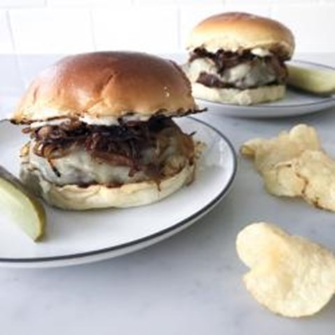 Hamburgers with Caramelized Onions and Gruyère