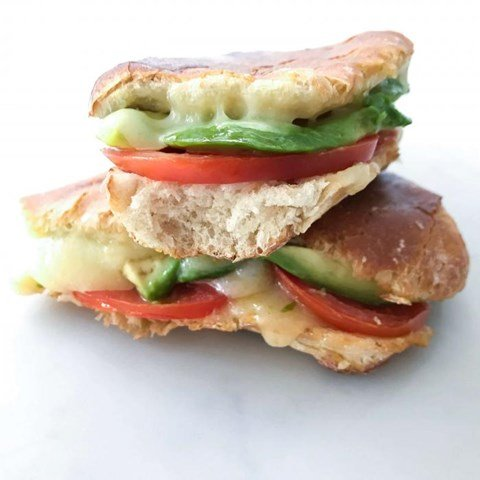 Toasted Avocado, Cheese and Tomato Panini