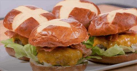 Bacon Cheeseburgers with Pretzel Buns