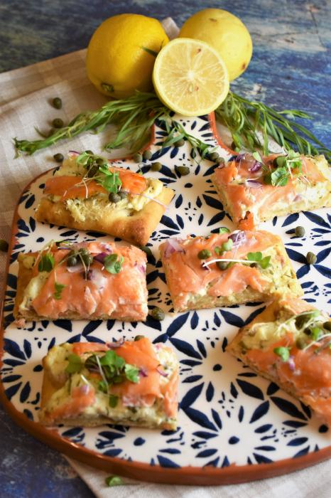 Smoked Salmon Pizza with Lemon Tarragon Cream Cheese