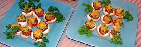 Grilled Shrimp on Bruschetta with Fresh Tomato, Yellow Pepper & Coriander Relish