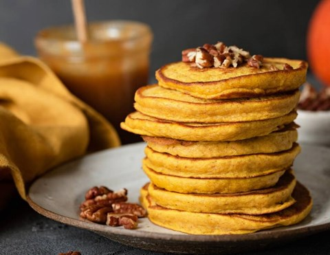 Whole wheat butternut squash protein packed pancakes