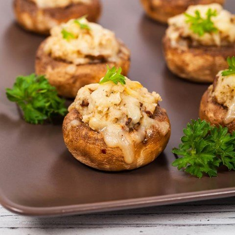 Spinach, Feta & Artichoke Stuffed Mushrooms