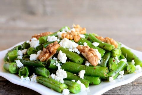 Grilled Green Beans with Feta