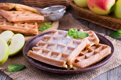 Apple Walnut Waffles - 16 Waffles