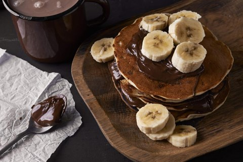 Chocolate Griddle Cakes with Bananas