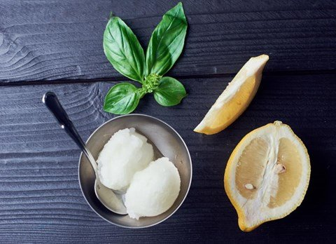 Lemon Basil Sorbet - 5 cups (ten ½-cup serving)