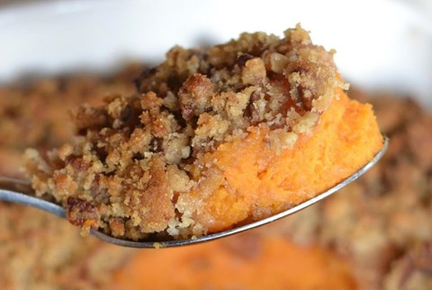 Sweet Yam Casserole with Crunchy Pecan Topping