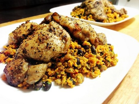 Tomato Basil Couscous with Lentils, Black Beans and Jerk Chicken