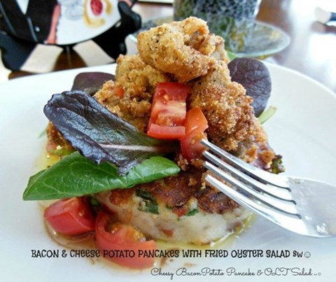 Bacon & Cheese Potato Pancakes with Fried Oysters