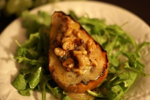 Grilled Pears with Gorgonzola, Walnuts and Spicy Mustard Vinaigrette