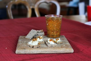 Sweet and Spicy Pepper Relish, mixed with cream cheese and served on sprouted wheat bread. Submitted by Christina Gutierrez