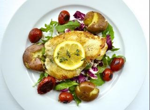 Seared Flounder with Smashed Baby Potatoes