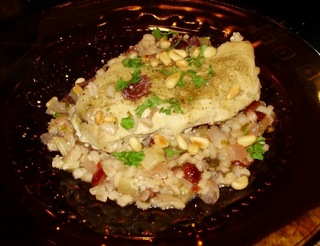 Barley Chicken with Cranberries and Pine Nuts Submitted by HyeThymeCafe