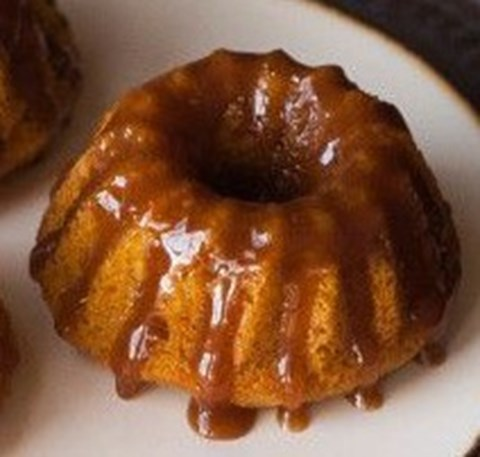 Individual apple spice cakes with buttery brown sugar glaze