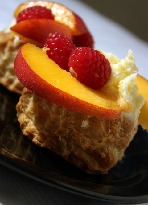 White Chocolate Mousse Peach and Raspberry Tarts