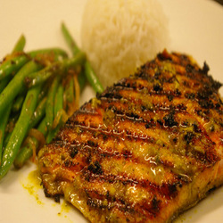 Grilled Salmon with Chermoula Marinade served with Jasmine Rice, Haricot Verts with Caramelized Shallots Submitted by MHC