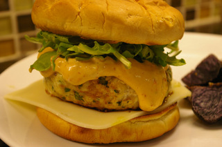 Spicy cilantro lime turkey burgers with smokey mayonnaise, jarlsberg cheese and arugula. Submitted by MHC