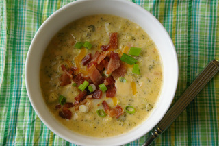 Delicious Broccoli Cheese Soup garnished with extra cheese, bacon and green onions Submitted by MHC