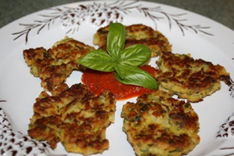 Zucchini fritters with basil and parmesan