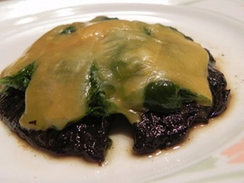 Grilled Portobello Mushroom With Sauteed Spinach and Cheddar Cheese