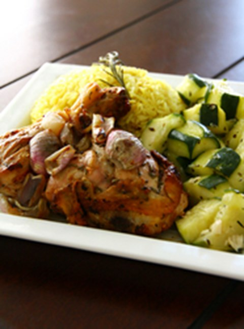 Rosemary Chicken with Rice & Cucumber