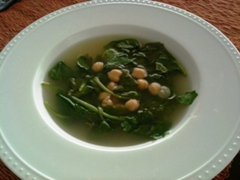 Simple Lemon-Basil Spinach & Chickpea Soup