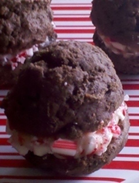 Holiday Whoopie Pies with Crushed Candy Canes