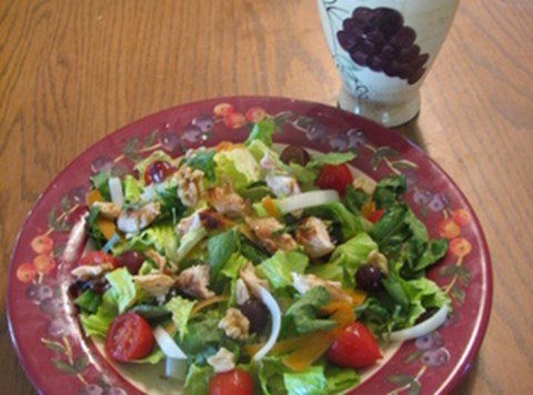 Fruity Chicken Salad with Toasted Walnuts and White Grape Juice Vinaigrette