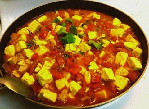 Vegan Tofu Curry with Tomatoes & Bell Peppers