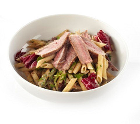 Penne Pasta Salad with Rib Eyes Steak